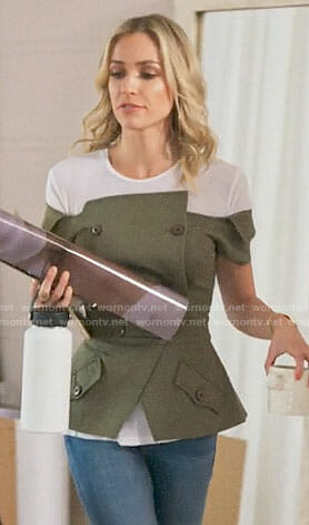 Kristin's green off-shoulder double-breasted top on Very Cavallari
