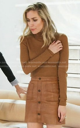 Krisin's brown turtleneck and leather skirt on Very Cavallari