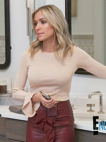 Kristin's bell sleeve top and ruffled leather skirt on Very Cavallari