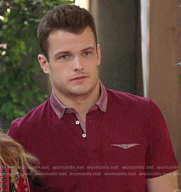 Kyles red polo shirt on The Young and the Restless