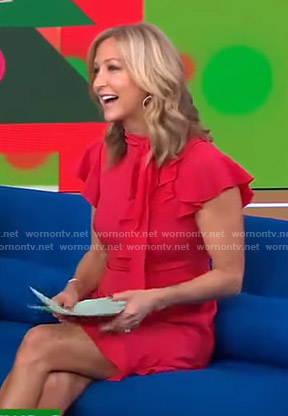 Lara's red ruffled tie neck dress on Good Morning America