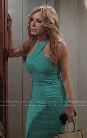 Lauren's turquoise cross neck dress on The Young and the Restless