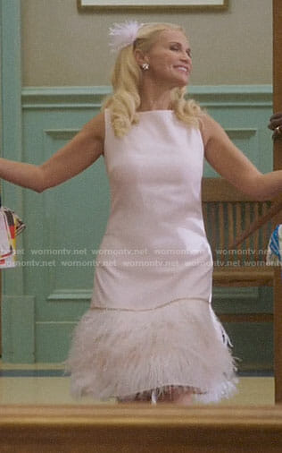 Lavinia's pink feather dress on Trial and Error