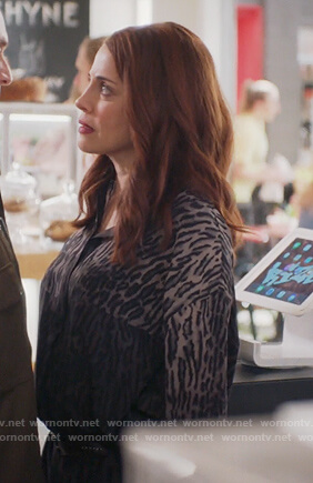 Jo's black leopard print mini dress on Girlfriends Guide to Divorce