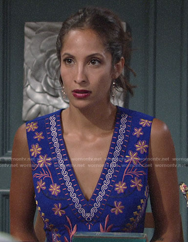 Lily's blue embroidered v-neck dress on The Young and the Restless
