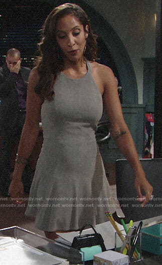 Lily's grey suede mini dress on The Young and the Restless
