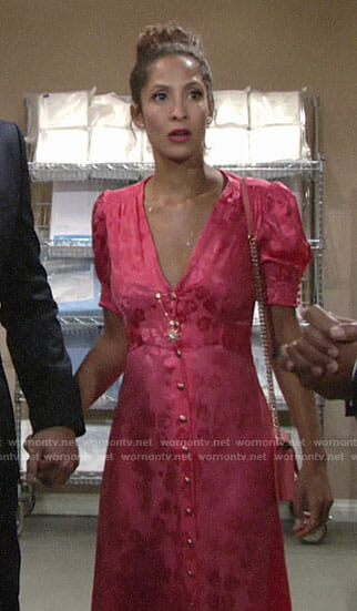 Lily's pink puff-sleeve dress on The Young and the Restless