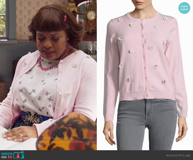 Lord & Taylor Floral Applique Cardigan worn by Sherri Shepherd on Trial & Error
