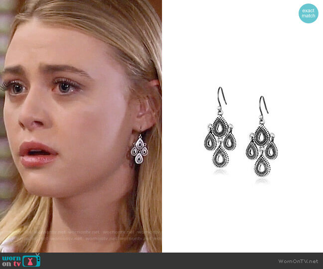 Lucky Brand Blue Moon Moveable Tribal Chandelier Earrings worn by Kiki Jerome (Hayley Erin) on General Hospital