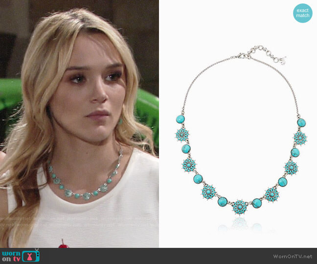 Lucky Brand Turquoise Collar Necklace worn by Hunter King on The Young & the Restless