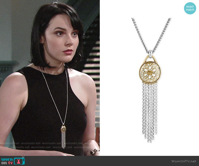 Lucky Brand Two-Tone Pavé Fringe Pendant Necklace worn by Cait Fairbanks on The Young & the Restless