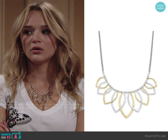 Lucky Brand Two Tone Petal Necklace worn by Summer Newman (Hunter King) on The Young & the Restless