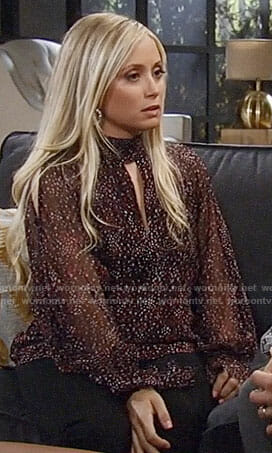 Lulu's printed keyhole blouse on General Hospital