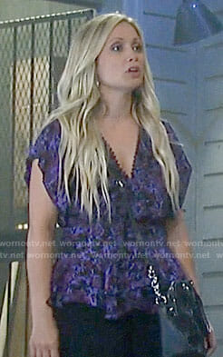 Lulu's purple floral peplum top on General Hospital