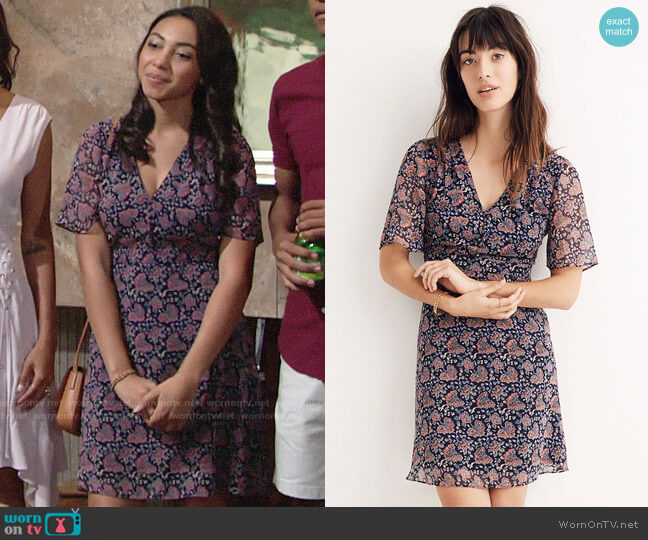 Madewell Orchard Flutter Sleeve Dress in Fan Floral Mix worn by Camryn Hamm on The Young & the Restless