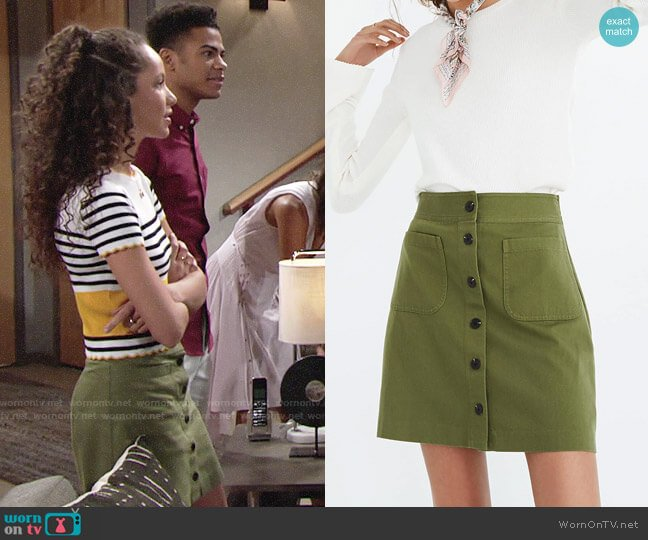 Madewell Station Mini Skirt worn by Lexie Stevenson on The Young & the Restless