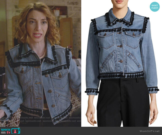 Shrunken Pom-Pom Cropped Denim Jacket by Marc Jacobs worn by Molly Bernard on Younger