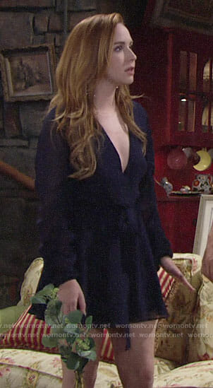 Mariah's blue long ruched sleeve mini dress on The Young and the Restless
