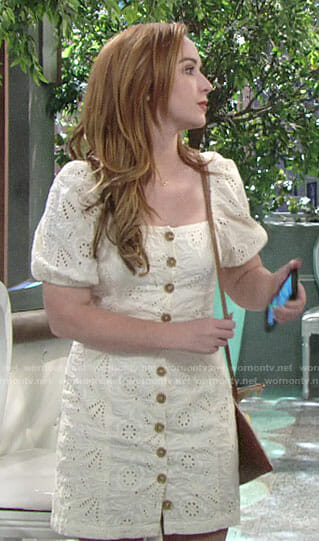 Mariah's cream eyelet button front dress on The Young and the Restless