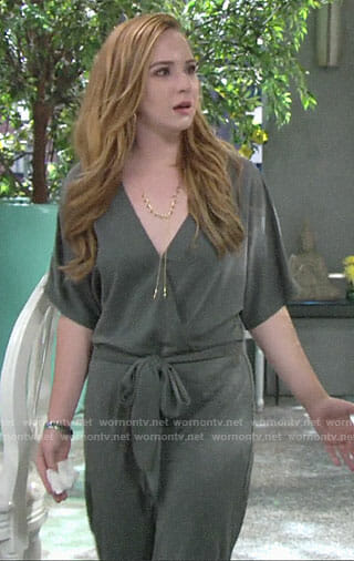 Mariah's wrap jumpsuit on The Young and the Restless