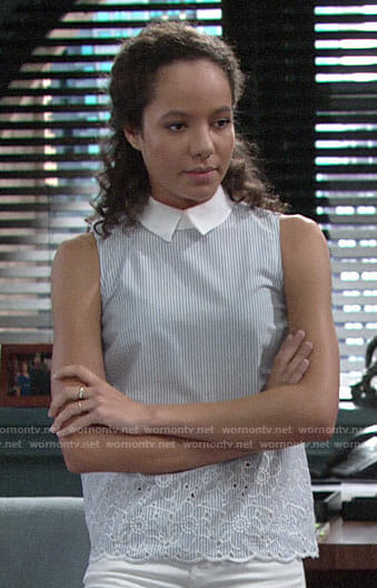Mattie's sleeveless embroidered collared top on The Young and the Restless