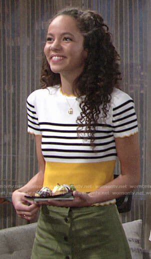 Mattie's yellow striped top and green button front skirt on The Young and the Restless