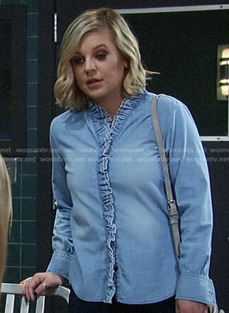 Maxie's ruffled chambray shirt on General Hospital