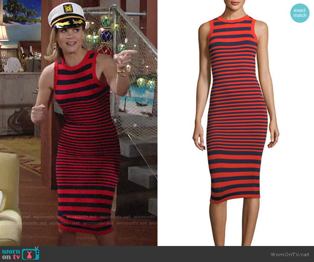 Milly Striped Ottoman Fitted Dress worn by Phyllis Newman (Gina Tognoni) on The Young & the Restless