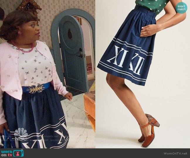 ModCloth Charming Cotton Skirt with Pockets in Navy Numerals worn by Sherri Shepherd on Trial & Error