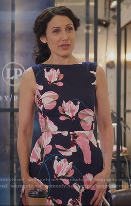 Abby's navy floral print sleeveless dress on Girlfriends Guide to Divorce