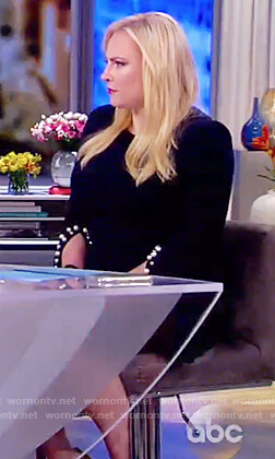 Meghan's navy pearl cuff embellished dress on The View