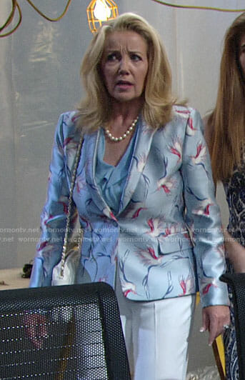 Nikki's blue bird print blazer on The Young and the Restless