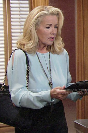 Nikki's blue keyhole blouse on The Young and the Restless