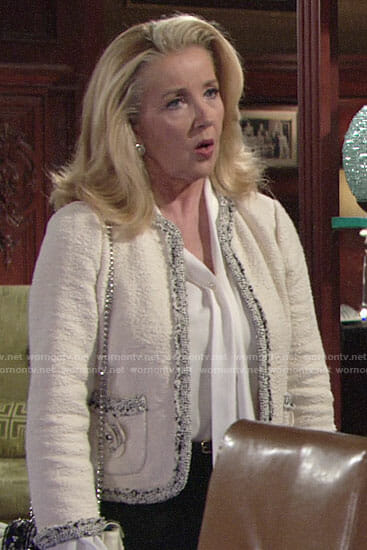 Nikki's tweed jacket with flower pockets on The Young and the Restless