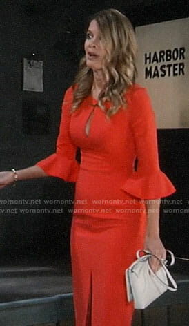Nina's orange bell-sleeve keyhole dress on General Hospital