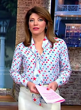 Norah's blue and red star print blouse on CBS This Morning