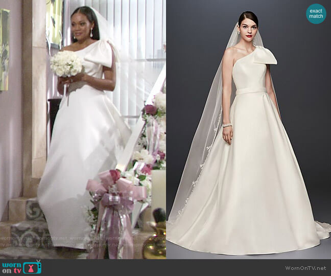 Oleg Cassini Bow-Shoulder Mikado Wedding Dress worn by Hilary Curtis (Mishael Morgan) on The Young & the Restless