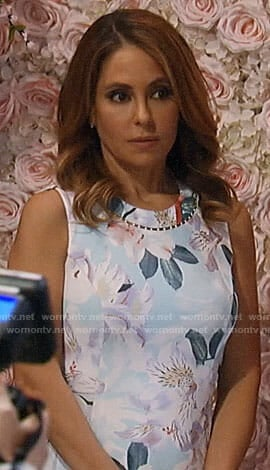 Olivia's floral dress with pearl neckline on General Hospital