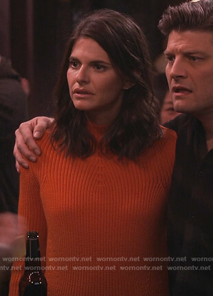 Leslie's orange mock neck sweater on Living Biblically