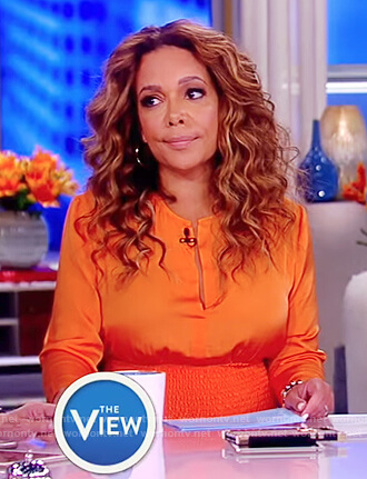 Sunny's orange smocked waist dress on The View