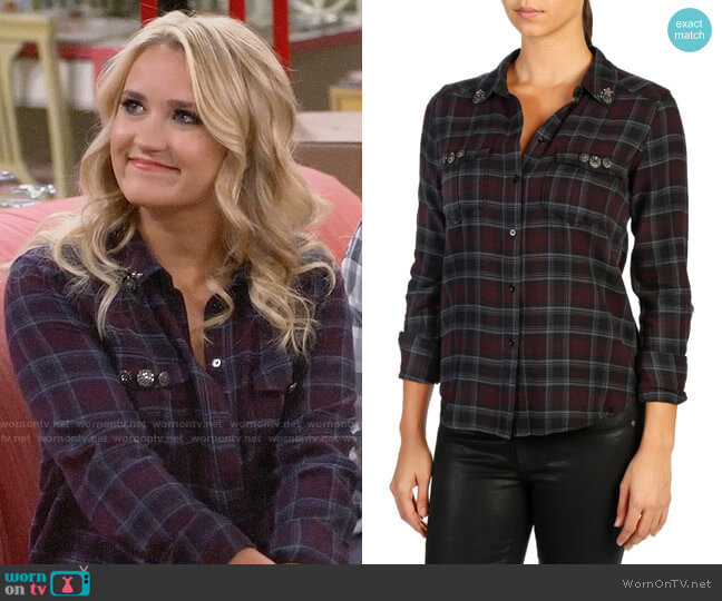 Paige Mya Embellished Plaid Shirt worn by Gabi Diamond (Emily Osment) on Young & Hungry