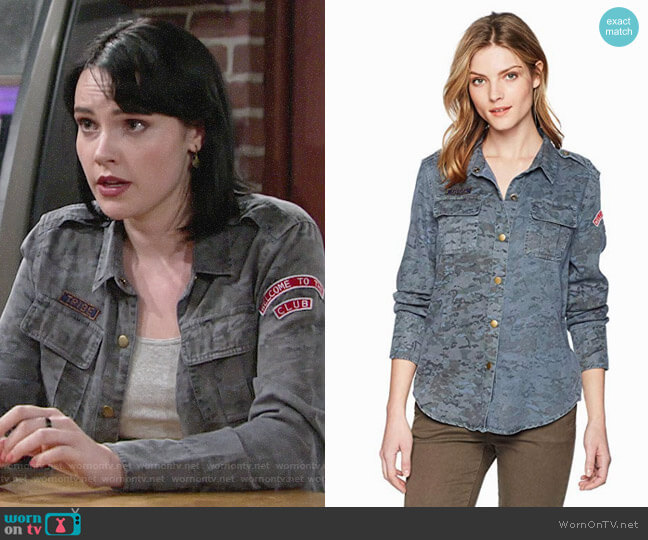 Pam & Gela Camo Shirt worn by Tessa Porter (Cait Fairbanks) on The Young & the Restless