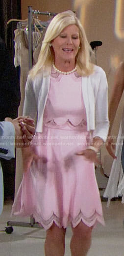 Pam's pink scalloped dress on The Bold and the Beautiful