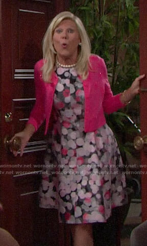 Pam's pink dotted dress on The Bold and the Beautiful