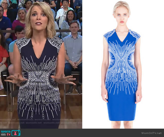 Embroidered V-Neck Sheath Dress by ph15 (exact color not online) worn by Megyn Kelly  on Today