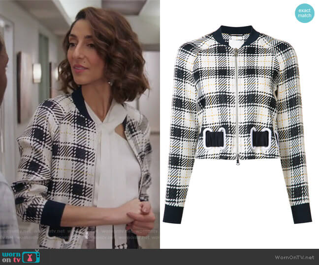 Surf plaid bomber by 3.1 Phillip Lim worn by Necar Zadegan on GG2D