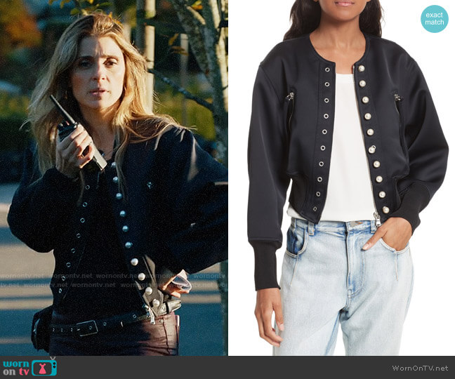3.1 Phillip Lim Grommet & Faux Pearl Embellished Bomber Jacket worn by Shiri Appleby on UnReal
