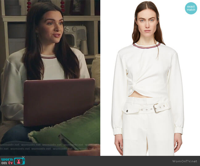 White Twisted Sweatshirt by Phillip Lim 3.1 worn by Katie Stevens on The Bold Type