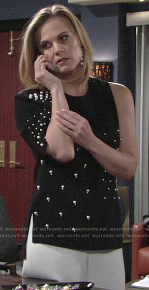 Phyllis's black pearl embellished top on The Young and the Restless