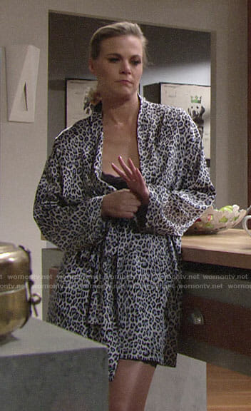 Phyllis's blue leopard print robe on The Young and the Restless